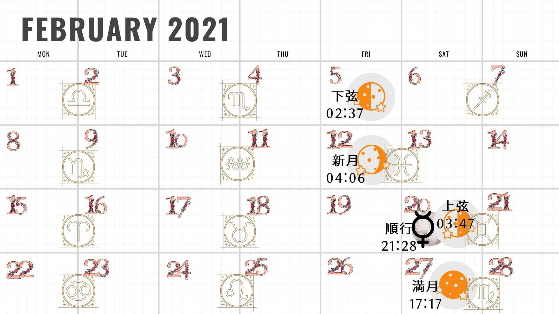 新月と満月カレンダー